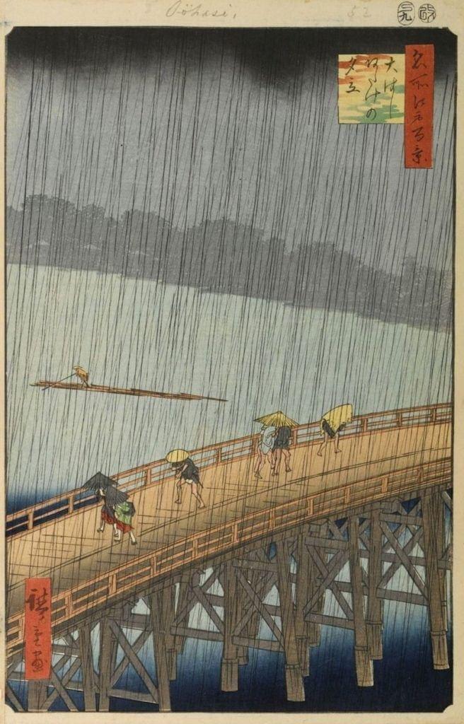 "Sudden Shower over Shin-Ohashi Bridge and Atake"". Hiroshige 1857"