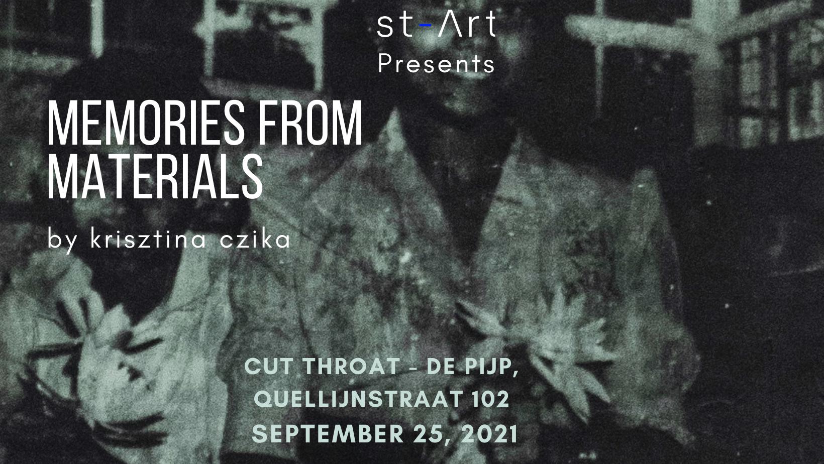 art exhibition, memories from materials by Krisztina Czika, flyer